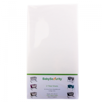 Baby Security Organic – Next2Me Fitted Mattress Sheet – White – Pack of Two