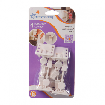 Dreambaby Push Down Draw Catches - Pack of 4