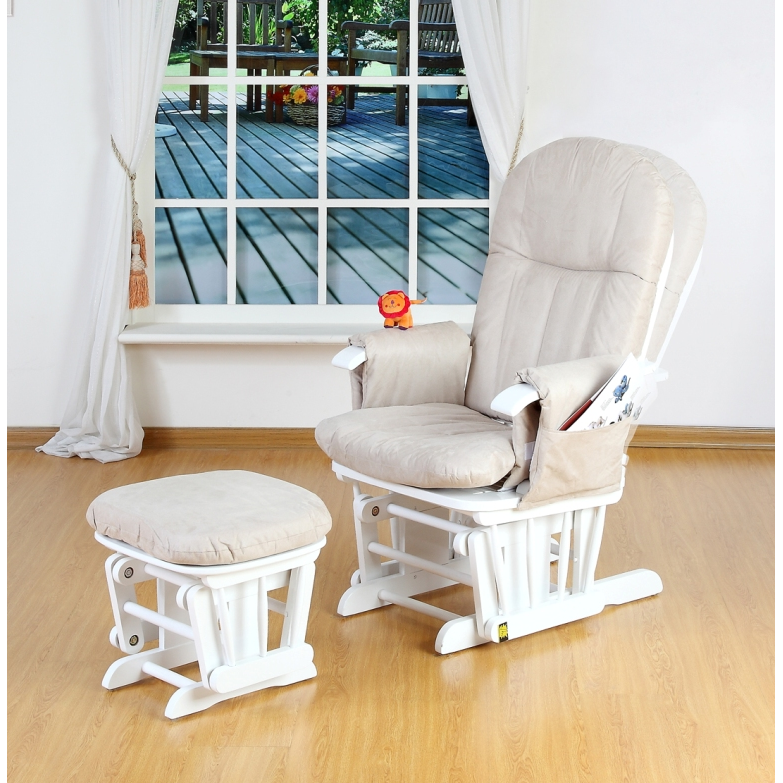 Tutti Bambini Reclining Glider Chair and Stool – White