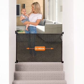 Dreambaby® Retractable Gate Fits Gaps Up To 140cm – Black