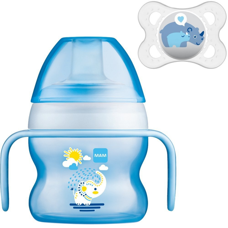 MAM Drinking Cup - Starter Cup - Blue with Soother