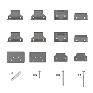 Air Retractable Stair Gate 2 Sets of Fixings and 1 Set of Skirting Spacers Included - Grey