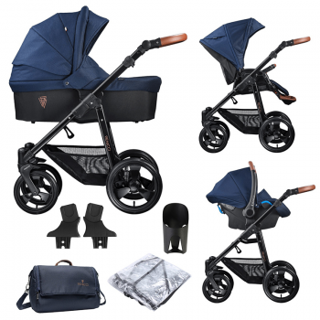 Venicci Gusto 3 in 1 Travel System (9 Piece Bundle) - Navy