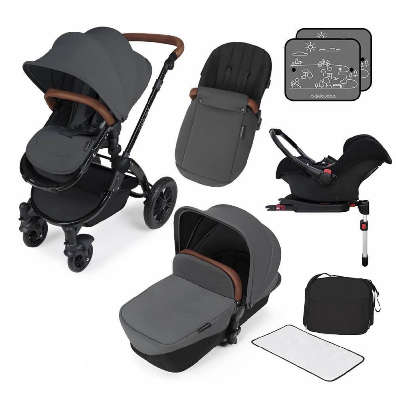 Ickle Bubba Stomp V3 All in One Travel System with ISOFIX Base – Graphite Grey on Black