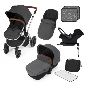 Ickle Bubba Stomp V3 All in One Travel System with ISOFIX Base – Graphite Grey on Silver