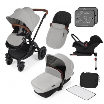 Ickle Bubba Stomp V3 All In 1 Travel System with ISOFIX Base – Silver on Black