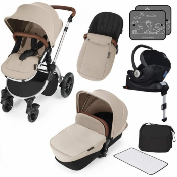 Ickle Bubba Stomp V3 i-Size Travel System with ISOFIX Base – Sand on Silver Frame