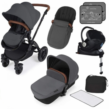 Ickle Bubba Stomp V3 i-Size Travel System with ISOFIX Base – Graphite Grey on Black Frame