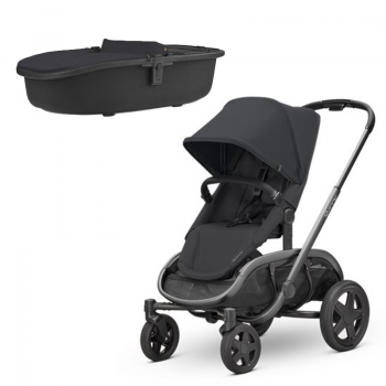Quinny Hubb Stroller and Hux Carrycot – Black/Black