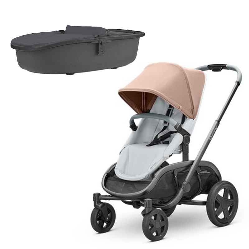 Quinny Hubb Stroller and Hux Carrycot – Cork on Grey/Graphite
