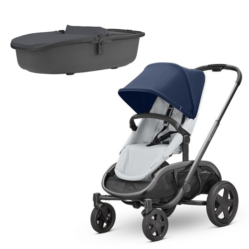 Quinny Hubb Stroller and Hux Carrycot - Navy on Grey/Graphite