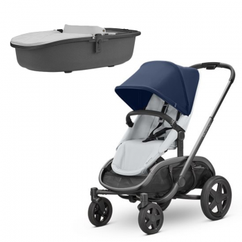 Quinny Hubb Stroller and Hux Carrycot – Navy on Grey/Grey