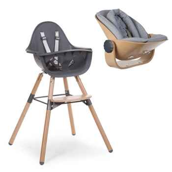Childhome Evolu 2 Highchair with Newborn Seat and Cushion – Anthracite