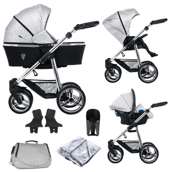 Venicci Silver 3 in 1 Travel System (9 Piece Bundle) – Silver Spark
