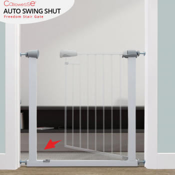 Callowesse Freedom Stair Gate – Hands Free Magnetic Auto Close and Locking 76-83cm. Child or Pet. Free Wall Cups
