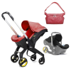 Doona Car Seat Stroller Red With Colour Pack (Black) and Essentials Bag (Red)