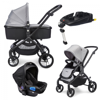 Mee-go Plumo Travel System Package With ISOFIX Base – Ash Grey
