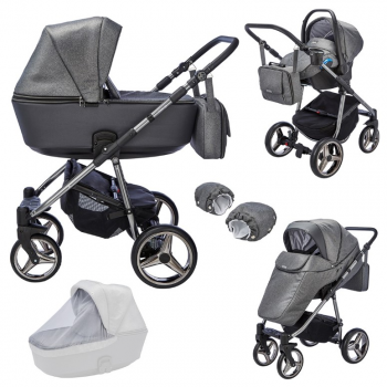 Mee-go Santino Special Edition 3-in-1 Travel System Package – Gun Metal/Cloud (10 Piece Bundle)