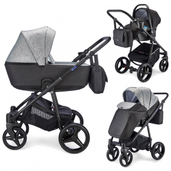 Mee-go Santino 3-in-1 Travel System Package – Black/Pepper Grey