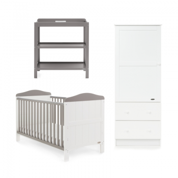 Obaby Whitby 3 Piece Room Set – White with Taupe Grey