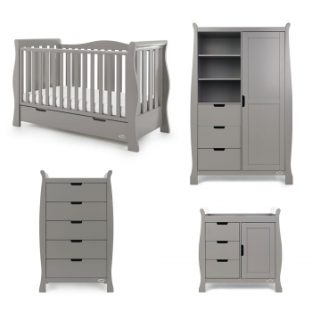 Obaby Stamford Luxe Sleigh 4 Piece Room Set – Taupe Grey