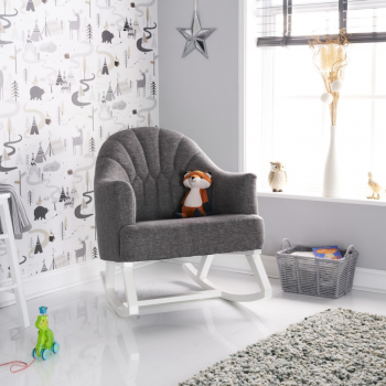 Obaby Round Back Rocking Chair – White with Grey Cushion