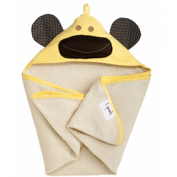 3 Sprouts Yellow Monkey Hooded Baby Towel