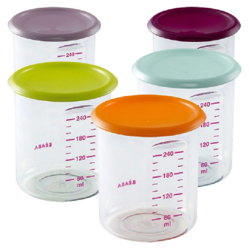 Beaba Maxi Portion Food Jars 300ml – Assorted Colours Gipsy/Pastel
