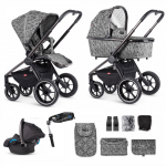 Venicci Tinum + FREE Isofix Base – 3 in 1 Travel System – Camo Grey (13 Piece Bundle)