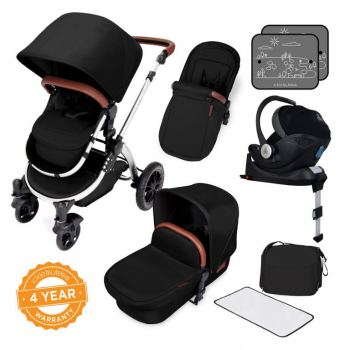 Ickle Bubba Stomp V4 i-Size Travel System With ISOFIX Base – Midnight Chrome