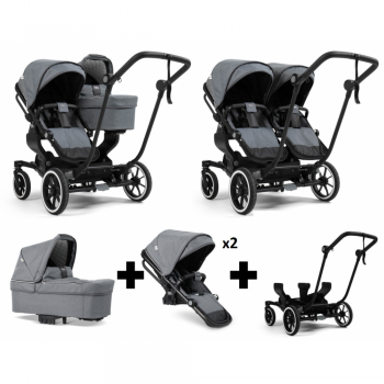 Emmaljunga NXT Double Travel System – Black/Lounge Grey