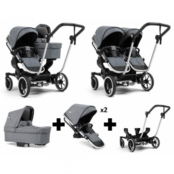 Emmaljunga NXT Double Travel System – Silver/Lounge Grey