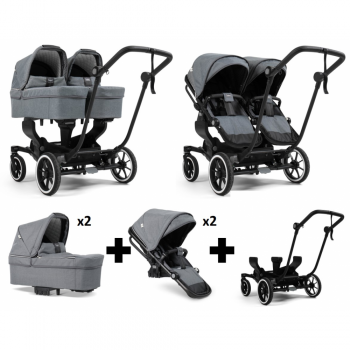 Emmaljunga NXT Twin Travel System – Black/Lounge Grey