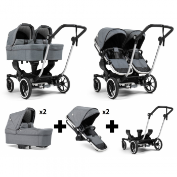 Emmaljunga NXT Twin Travel System – Silver/Lounge Grey