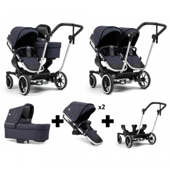 Emmaljunga NXT Double Travel System – Silver/Lounge Navy