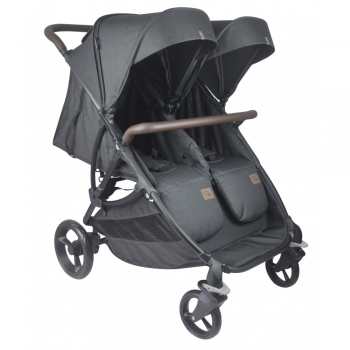 Roma Gemini Double Pram – Black