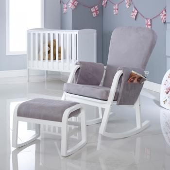 Ickle Bubba Dursley Rocking Chair and Stool – Pearl Grey