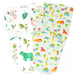 Callowesse Newborn Baby Swaddle - Pack of 2 - Bears and Blossoms & Exotic Kingdom