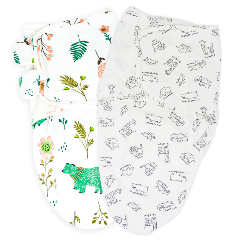 Callowesse Newborn Baby Swaddle – Pack of 2 – Bears and Blossoms & Monochrome Jungle
