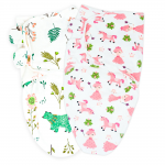 Callowesse Newborn Baby Swaddle - Pack of 2 - Bears and Blossoms & Pink Unicorn