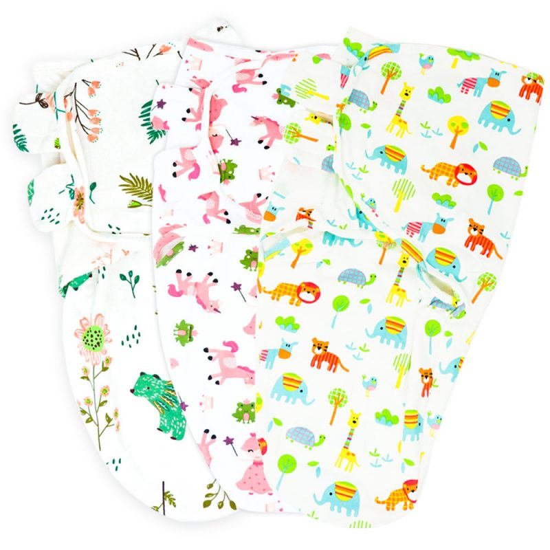 Callowesse Newborn Swaddle – 3 Pack – Bears and Blossoms, Pink Unicorns & Exotic Kingdom