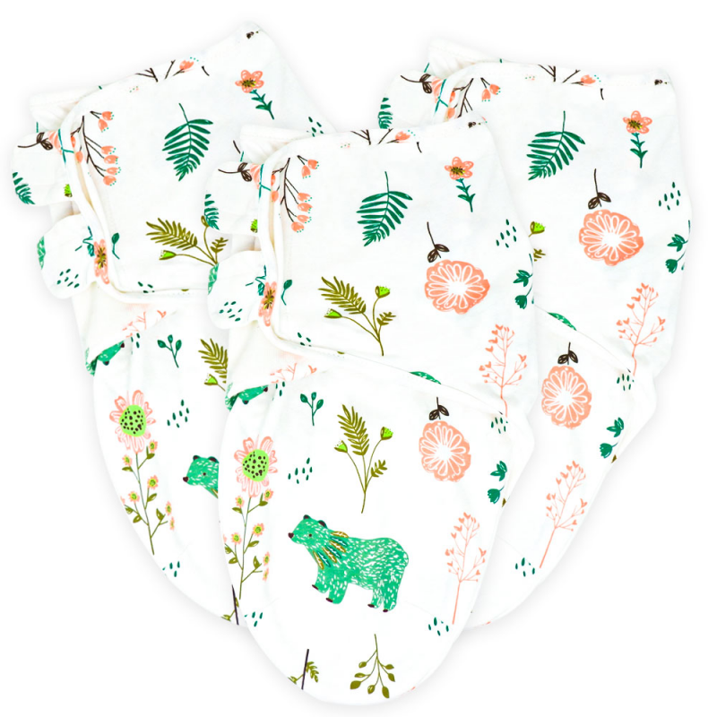 Callowesse Newborn Baby Swaddle – Pack of 3 – Bears and Blossoms