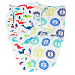Callowesse Newborn Baby Swaddle - Pack of 2 - Dino Land & Little Lions