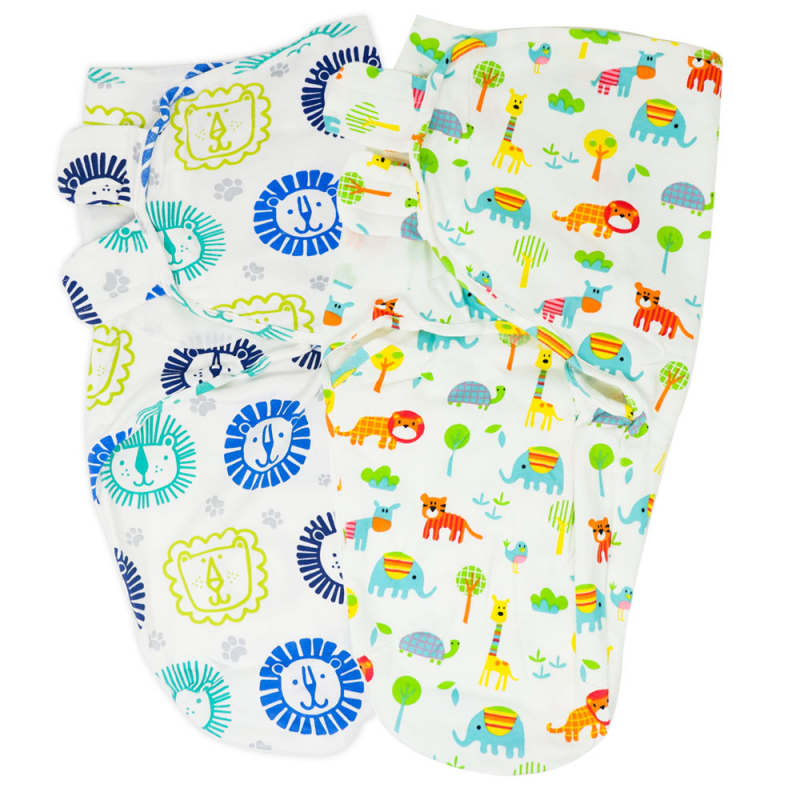 Callowesse Newborn Baby Swaddle – Pack of 2 – Little Lions & Exotic Kingdom