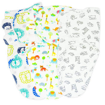 Callowesse Newborn Swaddle – 3 Pack – Little Lions, Exotic Kingdom & Monochrome Jungle