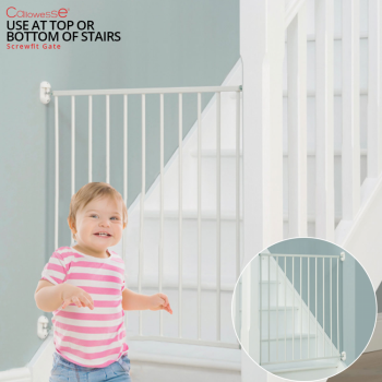 Callowesse Screwfit Metal Stair Gate – 76-81 cm – White – Pack of 2