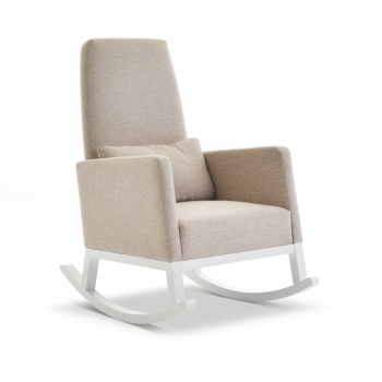 Obaby Round Back Rocking Chair – White with Oatmeal Cushions