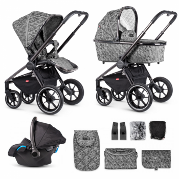 Venicci Tinum Bundle 3 in 1 Travel System with iSize Car Seat and Isofix Base – Camo Grey