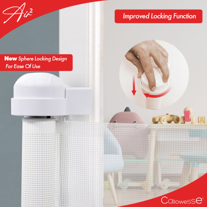 Callowesse Air2 Retractable Stair Gate 0-160cm – White- Locking system