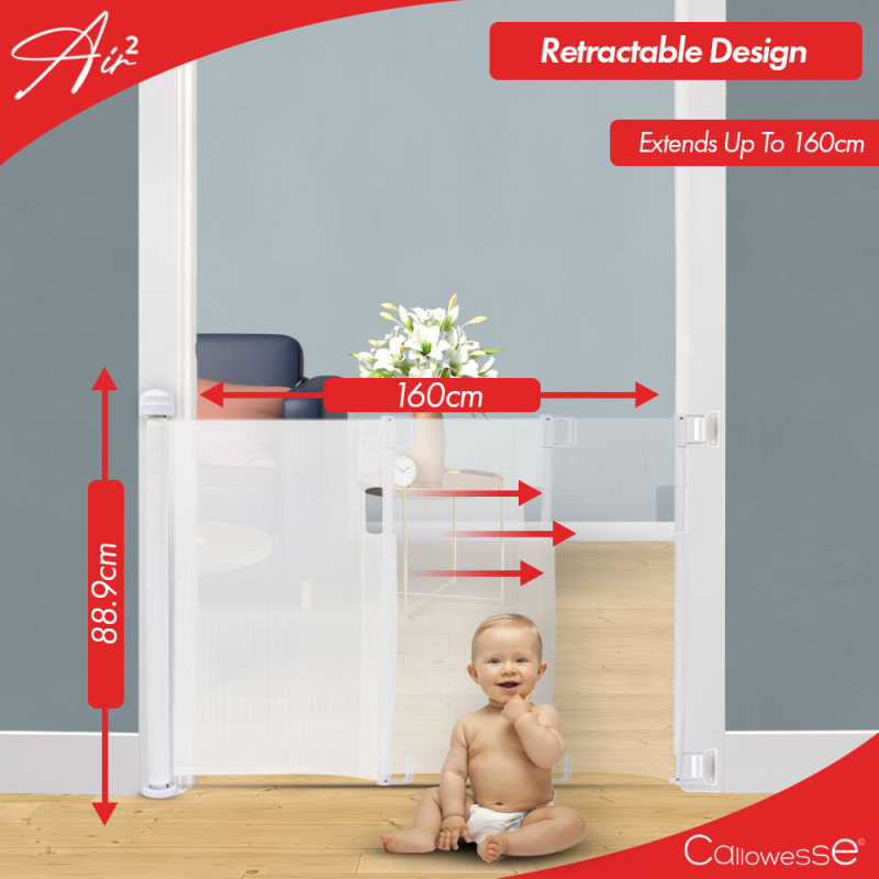 Callowesse Air2 Retractable Stair Gate 0-160cm – White- Extended